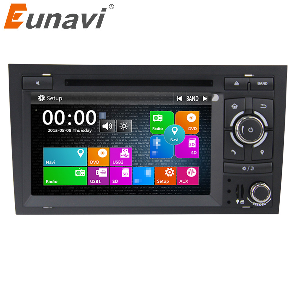 Eunavi 2 Din 7'' Car GPS Navigation DVD Player Stereo Video For Audi A4 S4 2002-2007 with steer wheel control touch screen