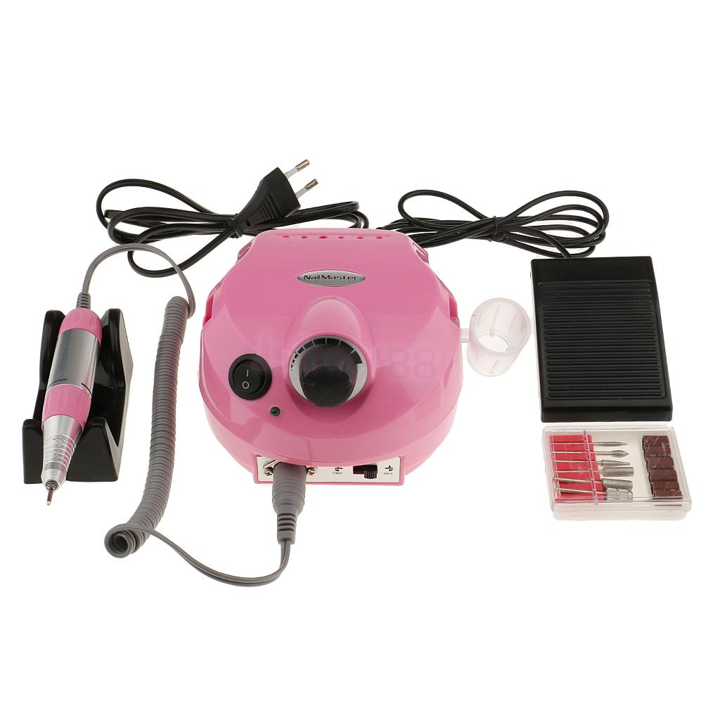 Manicure Pedicure Electric File Drill Polisher Nail Art Pen Machine 6 Bits Tools Set Kit EU Plug Pink electric nail drill machine manicure pedicure portable nail art tools strong polishing machine cutter drill file bits set nails