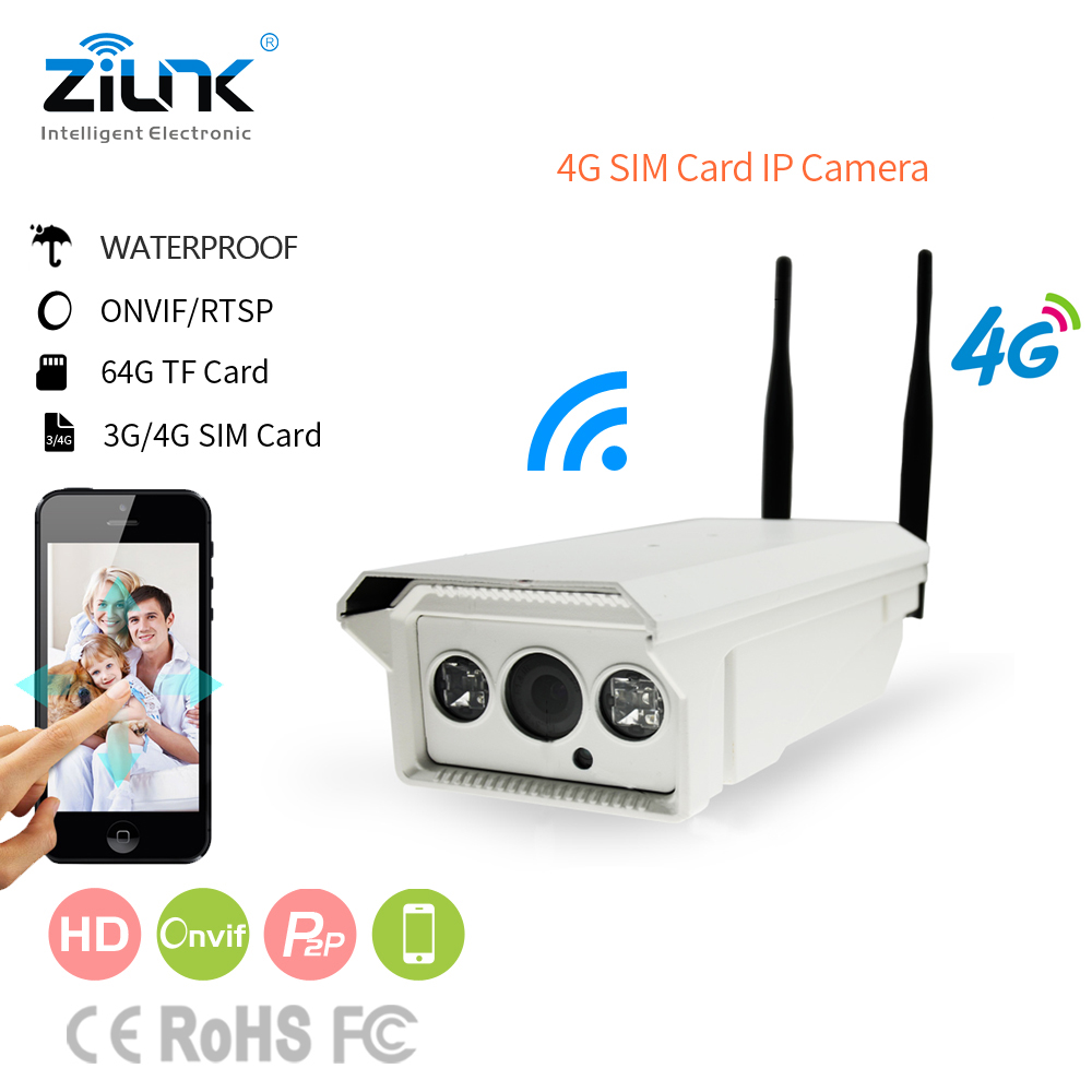 ZILNK 4G 3G Sim Card Wireless IP Camera Outdoor Bullet Support 128G SD Card Video Record 720P HD Onvif P2P Network simcom 5360 module 3g modem bulk sms sending and receiving simcom 3g module support imei change
