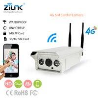 Zilnk 4 г 3G sim карты Беспроводной IP Камера Наружная цилиндрическая Поддержка 128 г SD карты запись видео 720 P HD Onvif P2P сети