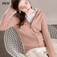 JECH Для женщин с капюшоном кашемировые кардиганы свитера с длинным рукавом 2018 Осень Теплый Повседневное одноцветное пальто модный трикотаж