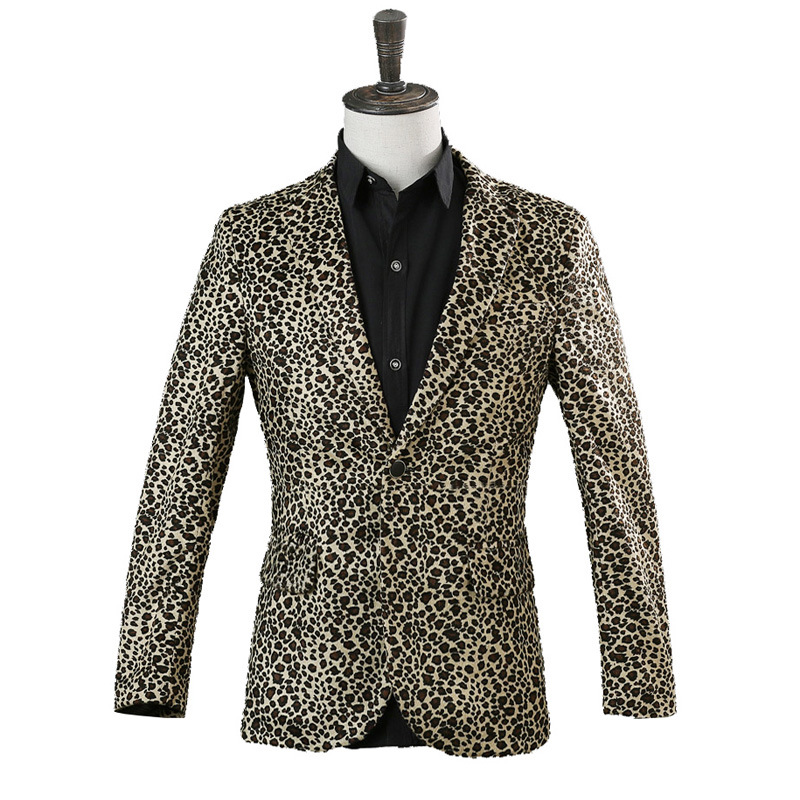 fashion Leopard Suit Jacket DJ Singer Nightclub Stage Costume Hosting Suit Jacket Bar Performing dress tide