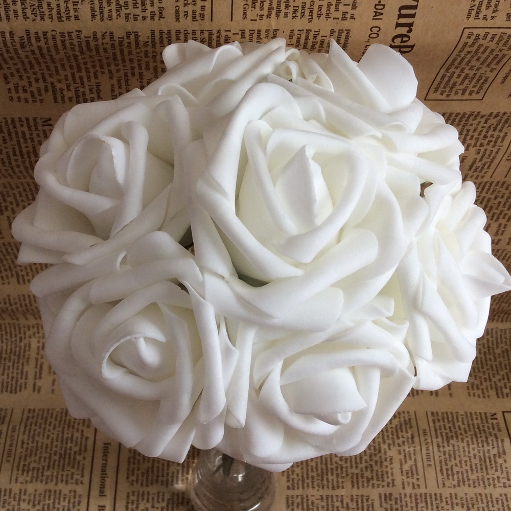 100 Heads White Wedding Flowers Whole Rose Artificial Foam For Bridal Bouquet Table Centerpiece