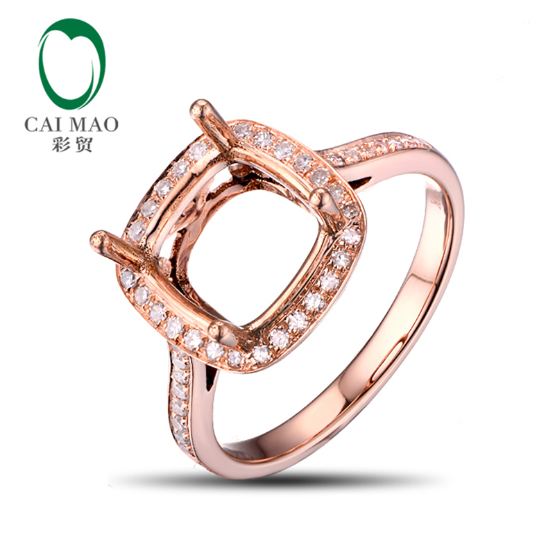 8.5mm Cushion Natural Pave Diamond 14kt Rose Gold Engagement Semi Mount Ring New