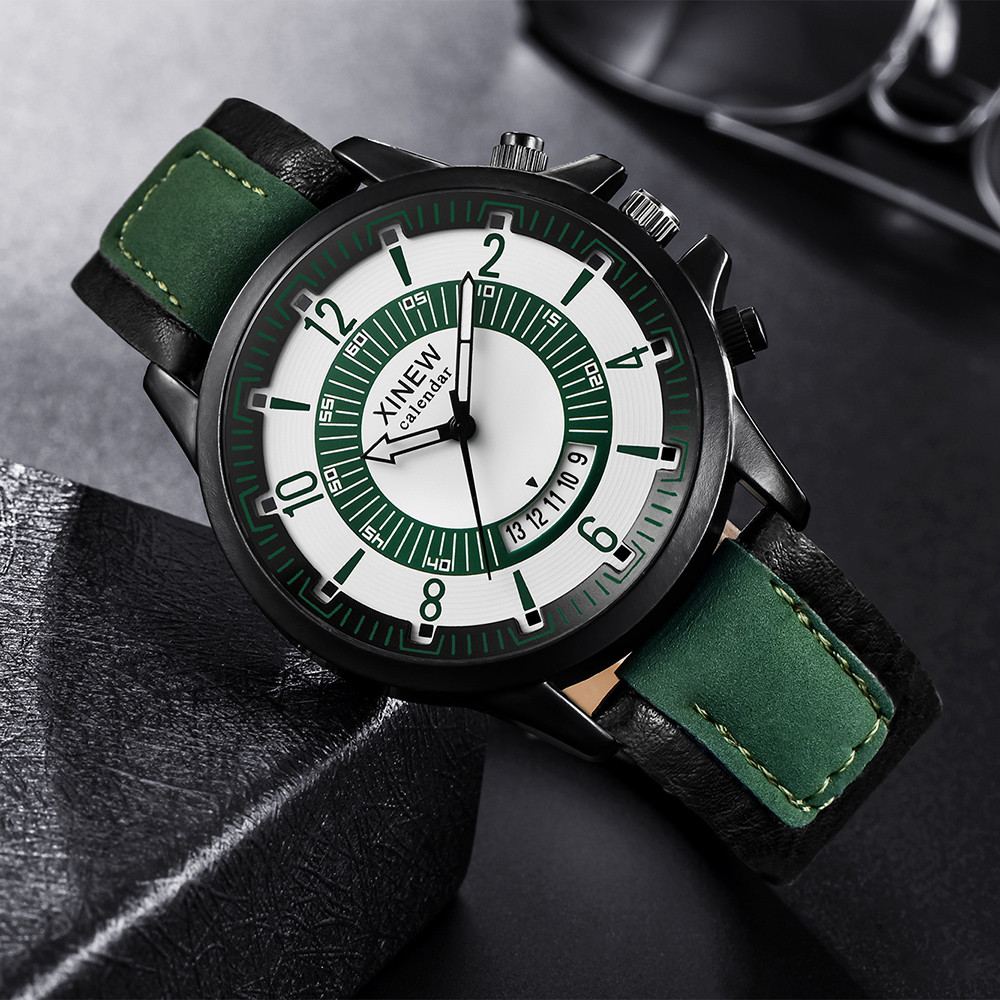 Relogio Masculino Fashion Quartz Watch Men Watch Top Brand XINEW Luxury Leather Mens Watches Casual Sport Clock Men Wristwatches