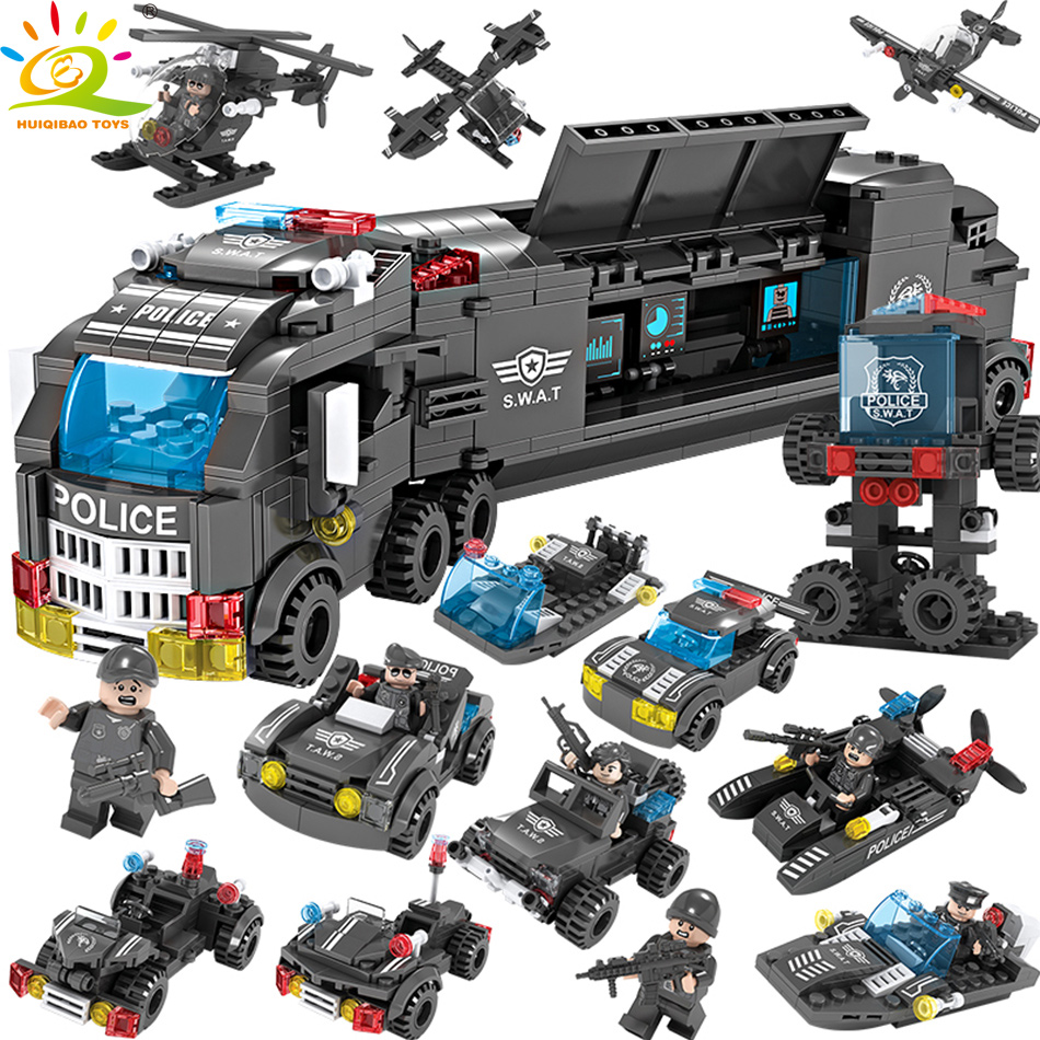 706PCS 8in1 SWAT Police Truck Building Blocks Compatible legoed City Helicopter Soldiers Bricks Educational Toys for Children цена
