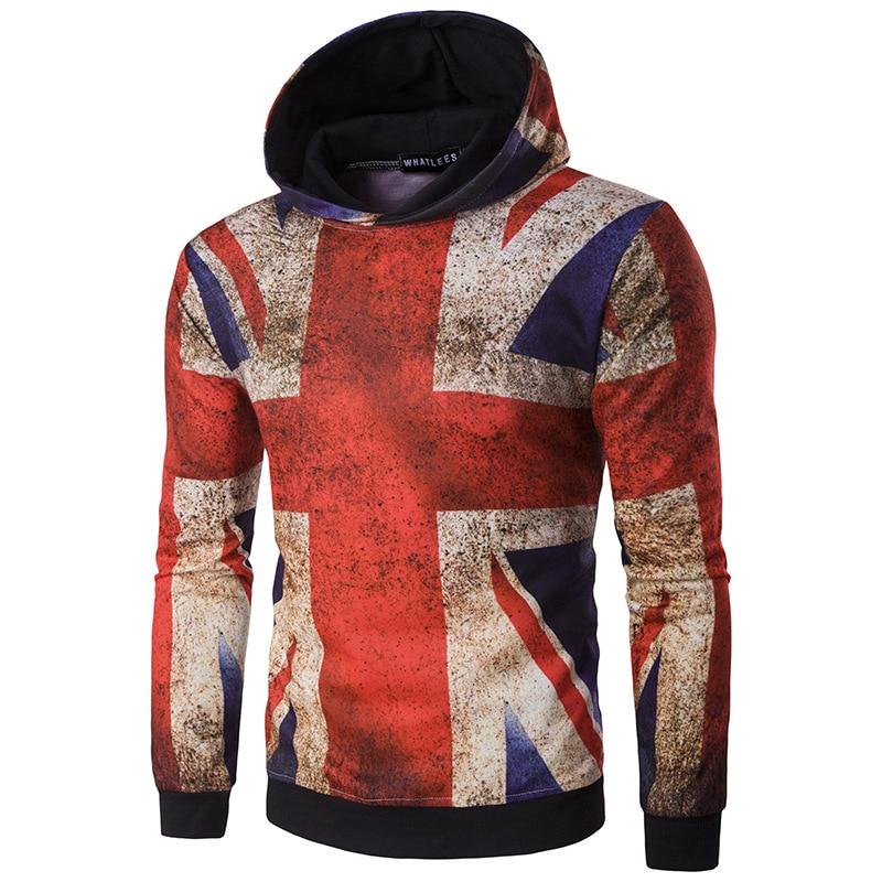 New Designer Man The Union Flag Print Hooded Puiiover Fashion Stars And Stripes Sweatshirts A1285