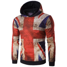 New Designer Man The Union Flag Print Hooded Puiiover Trend Stars And Stripes Sweatshirts A1285