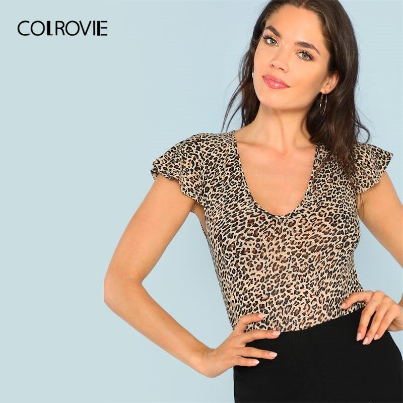 COLROVIE V-Neck Short Flutter Sleeve Leopard Print Casual T-Shirt Women 2019  Summer 5702da9b279e