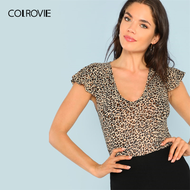 COLROVIE V-Neck Short Flutter Sleeve Leopard Print Casual T-Shirt Women 2019 Summer Sexy Basic Office Ladies Clothing Tee Shirts