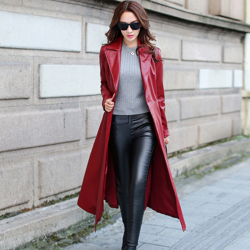 Long   Leather   Coat 2019 Autumn Winter PU   Leather   Jackets Motorcycle Faux   Leather   Windbreaker Lapel Collar   Leather   Fur Trench Coat
