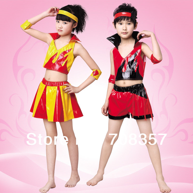 Fashion Girls and Boys Child Unix Soft Leather Jazz Suits Dance Modern Dance Clothes Ballroom Dance wear Red Yellow S-XL