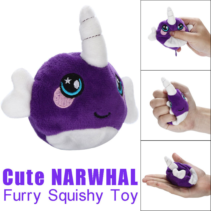 1pcCute Mochi  9cm Furry Squishies Cute Narwhal Foamed Stuffed Slow Rising Squeeze Stress Toys For Children For Kid A1