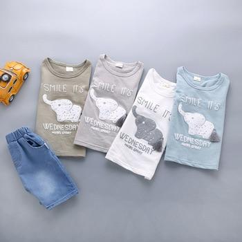 Newborn Baby Boy Clothing Sets Elephant T-shirt+Solid Pants 2Pcs 3