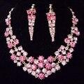 Rhinestone 18 K chapado en oro mujeres joyería nupcial caliente venta pendientes largos de lujo de moda Pink Crystal joyería de la boda traje conjuntos