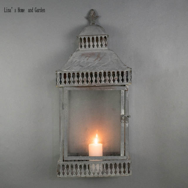 Rustic Retro Gray Metal Gl Wall Mounted Candle Lanterns
