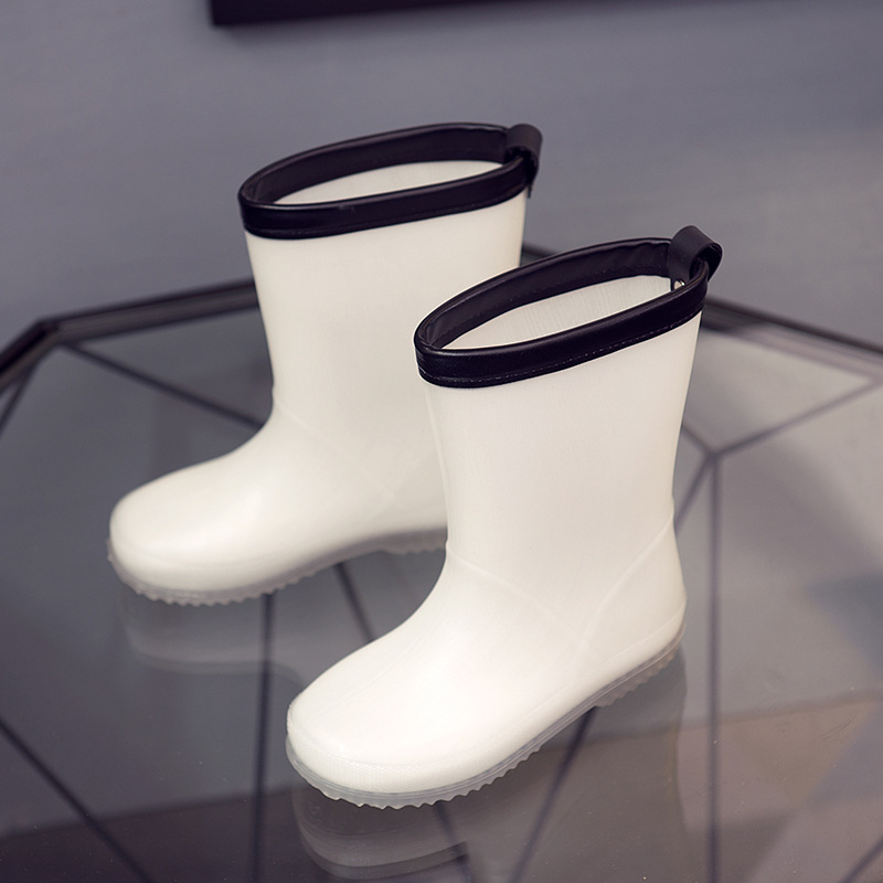 Children Rain Boot Boys Girls Jelly White Shoes Toddler 2019 Fashion Pvc Kids Rainboots White Boot