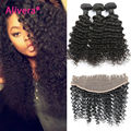 Brazilian Deep Wave With Lace Frontal 3/4 Bundles Deep Curly Brazilian Hair With Frontal Closure 7A Cheap Curly Weave Human Hair