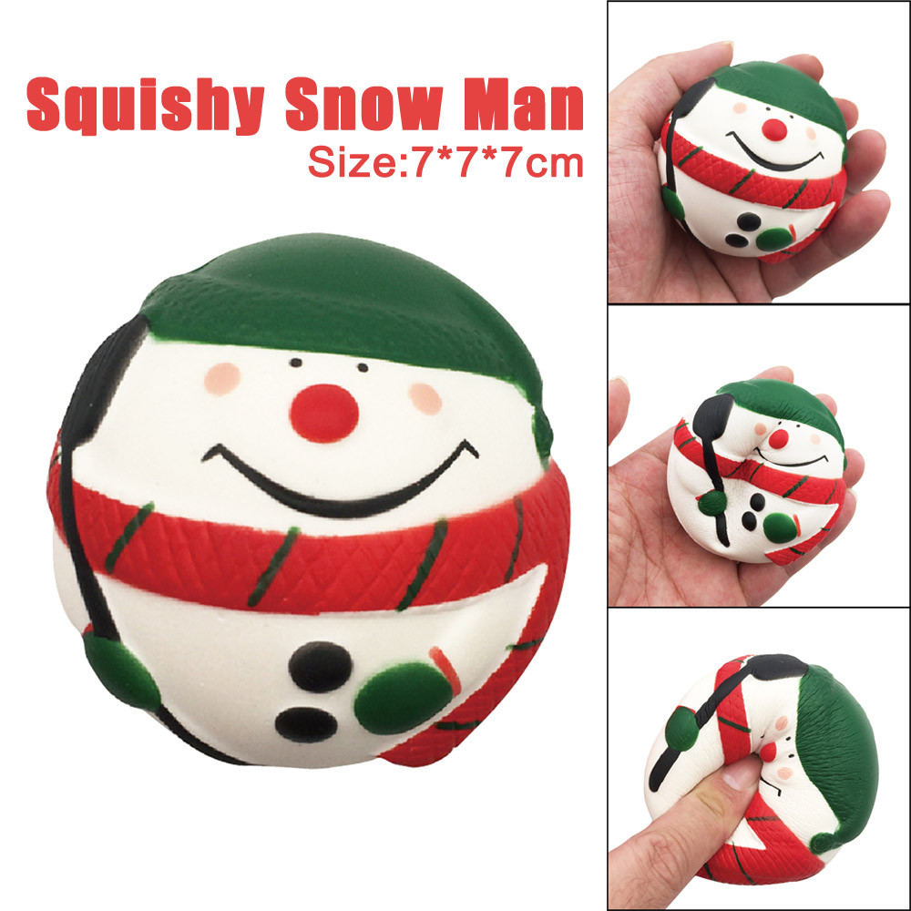 7CM Cute Snow Man Cream Squeeze Toy Squishy Slow Rising Scented Healing Fun Toys Kids Antistress Simulation Toy Christmas Gifts