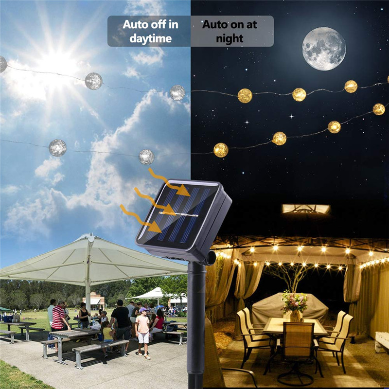 lowest price Globe led Solar String Lights 5m 50LED Crackle Ball Outdoor 8 Modes Fairy Lights  Warm White Indoor Decorative Garden Light