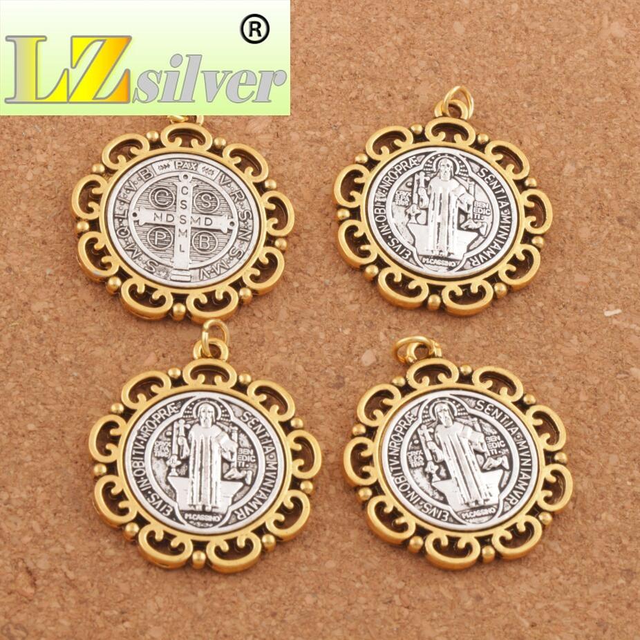 2PCS Flower Saint St Benedict Medal Cross Spacer Charm Beads 2 Tone Pendants 37x33mm T1705
