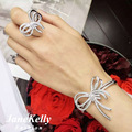 luxury 100% handmade setting bowknot shaped slave bracelet connected with ring ,stunning jewelry accessories