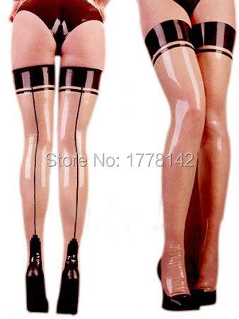 Sexy Latex couture bas sur le genou longue en caoutchouc cuisse haute Glam pieds collants cubain français havane talon jambe porter taille XXXL