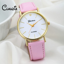 Newest CLAUDIA Women's Fashion Design Dial Leather Band Analog Geneva Quartz Wrist Watch FreeShipping 2016 Hot sale Reloj Mujer