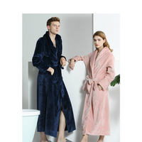 Men Women Autumn Winter Coral Fleece Bathrobes Couple Stripes Long Warm Morning Robes for Male Female Home Wear Nightgown