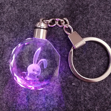 LED crystal bunny keychain keyrings cover rabbit tritium rings pokemon anime keychain keys to car trinkets Flash SNP SAN MERAH