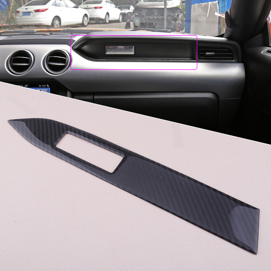 beler Carbon Fiber font b Interior b font Center 37x5 3cm Console Panel Cover Trim fit
