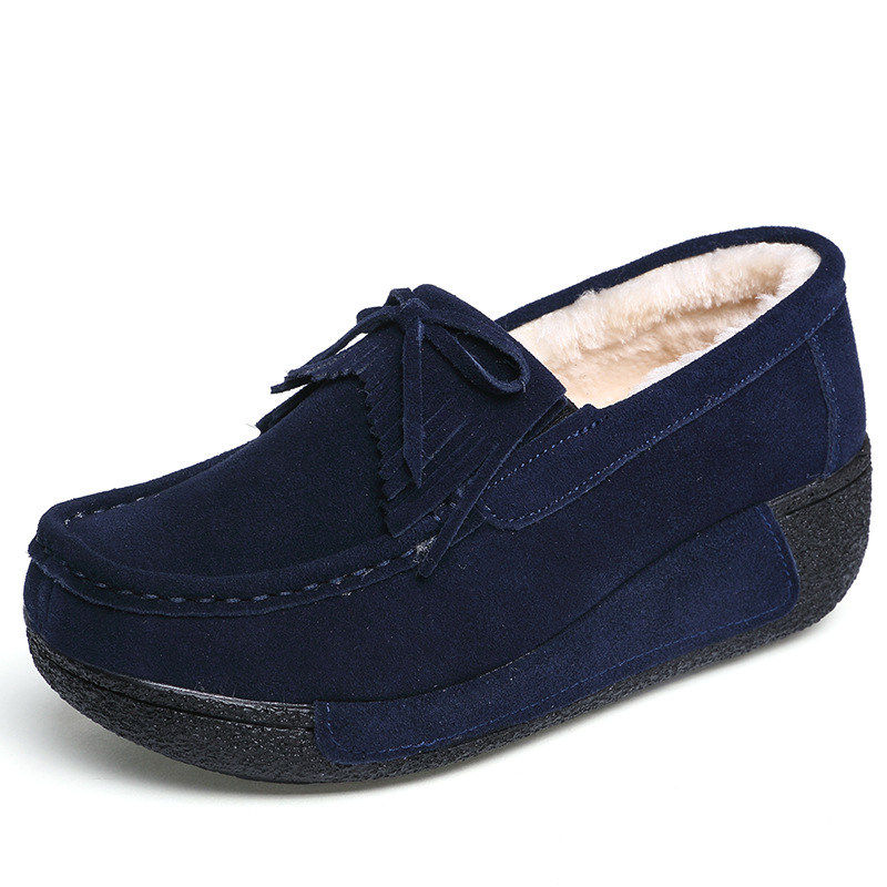 Image 3 - Plardin New Winter Women Flat Platform Shoes Genuine Leather fringe Cotton addition Ladies Flats Creepers Moccasins Oxford Shoes-in Women's Flats from Shoes