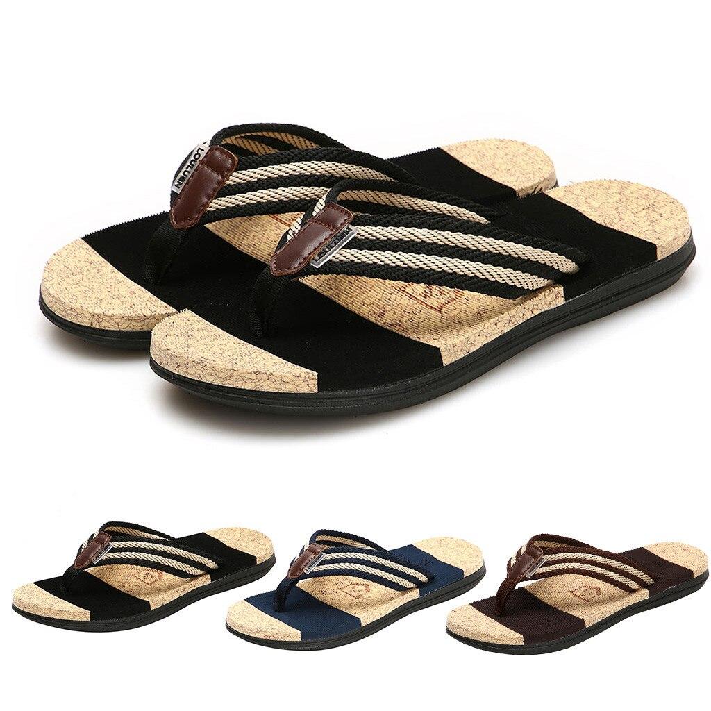 Fashion Mens Summer Flip Flops Striped Shoes Beach Sandals Slipper Leisure Shoes