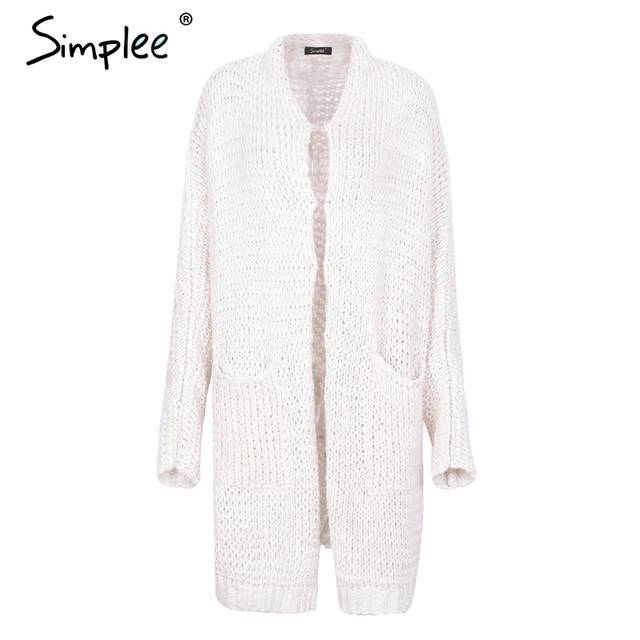 Simplee Casual knitted long cardigan female Loose cardigan knitted jumper  Warm winter 2018 sweater women cardigan d986d1168