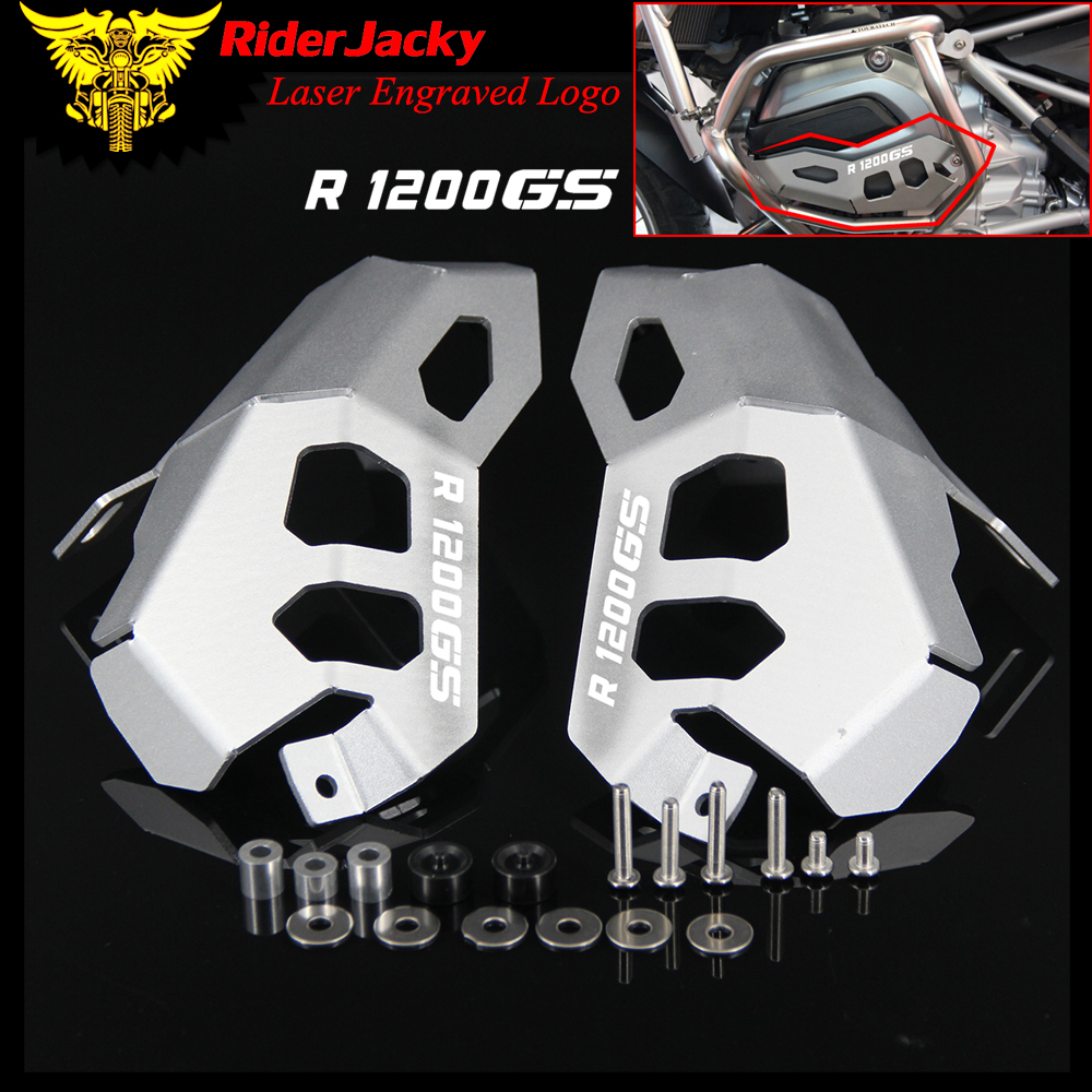 RiderJacky FOR <font><b>BMW</b></font> <font><b>R1200GS</b></font> R1200 GS Water Cooled 2014-2017 2016 Sliver Motorcycle <font><b>Cylinder</b></font> <font><b>Head</b></font> Engine Guards Protector Cover image