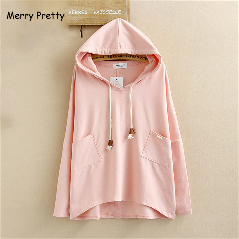 Merry Pretty Plus Size Kawaii Irregular Women Hoodies Sweatshirts Solid Hooded Drawstring Pullover Long Sleeve Cloth Femme ML15