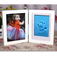 Newborn Baby Picture Frame DIY Handprint Footprint Air Drying Nontoxic Clay Wooden Photo Frame Set Home