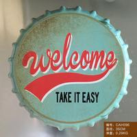 Welecome TAKE IT EASY Large Beer Cover Tin Sign Logo Plaque Vintage Metal Painting Wall Sticker Iron Sign Poster Wall Stickers