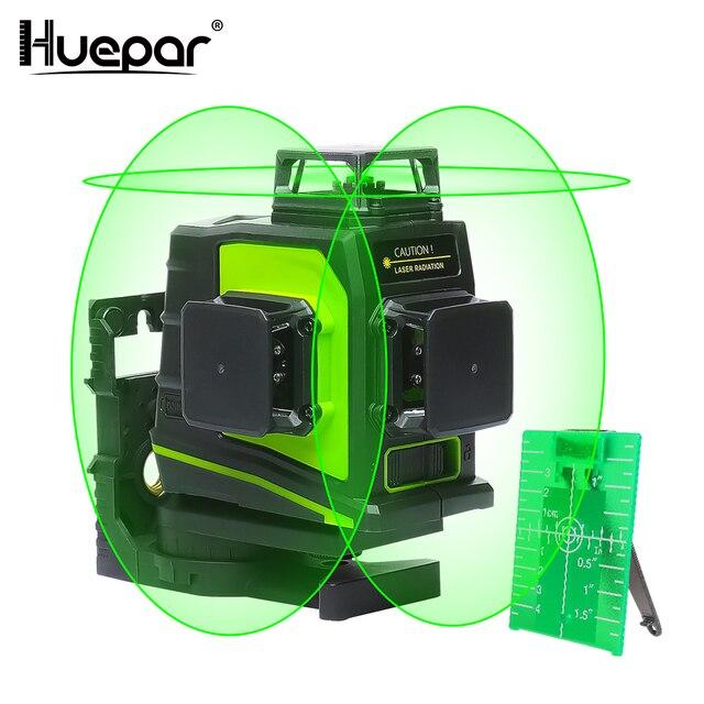 Huepar 12 خطوط ثلاثية الأبعاد عبر مستوى خط الليزر الذاتي التسوية 360 درجة عمودي وأفقي الصليب الأخضر الأحمر شعاع خط USB شحن