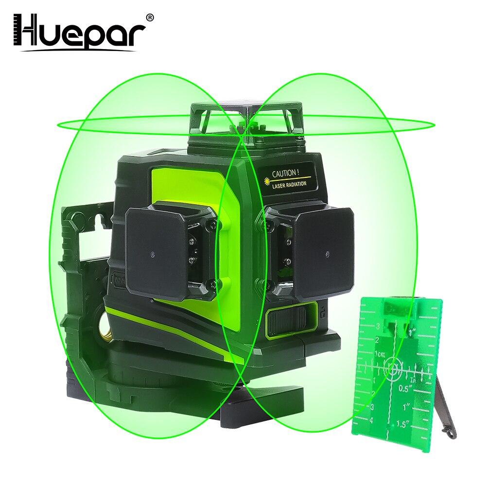 Huepar 12 Linee 3D Croce Laser a Livello di Linea di Auto-Livellamento 360 Gradi in Verticale e Orizzontale Croce Verde Rosso Fascio linea di Ricarica USB