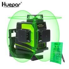 Huepar лазерный уровень, самонивелирующийся 3d лазер с 12 линиями, Поворот на 360 градусов, вертикальный и горизонтальный, крест, зеленый, красный луч, USB зарядка
