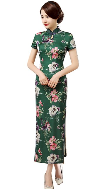 cfb55f577 Shanghai Story Floral Print Oriental dress long Qipao Dress chinese  traditional dress cheongsam Chinese style dress