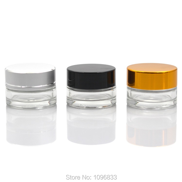 5g Clear Glass Bottle Gold Cap Cream Jar Silver Black Lid Cosmetic Packing Containers Small Pot