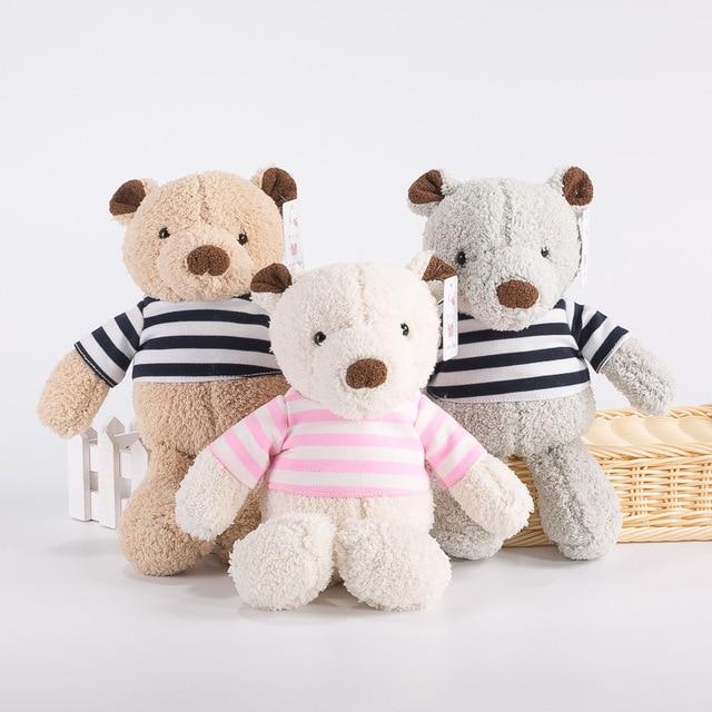 30cm Lovely Teddy Bear With Stripe T Shirt Stuffed Soft Kawaii Bear