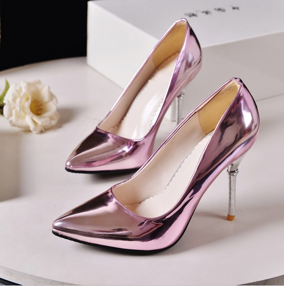 5dfcd3340f2 Gray Silver Pink Women s Wedding Shoes 10 CM Red Bottom High Heels Pointed  Patent Leather Femmes Valentine Pumps Size 35 45-in Women s Pumps from Shoes  on ...