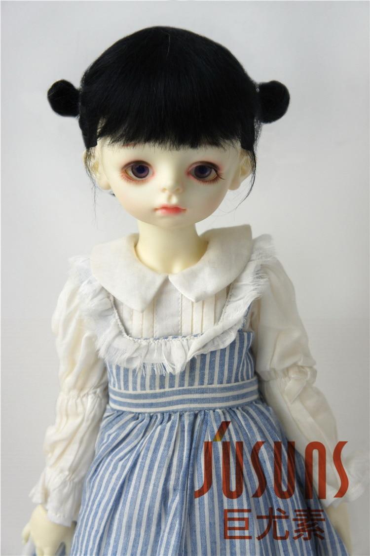 JD415 большой размер две косы BJD мохер парики в размере 8-9 дюймов 10-11 дюймов для кукол мягкие модные волосы куклы аксессуары - Цвет: 8-9inch Black