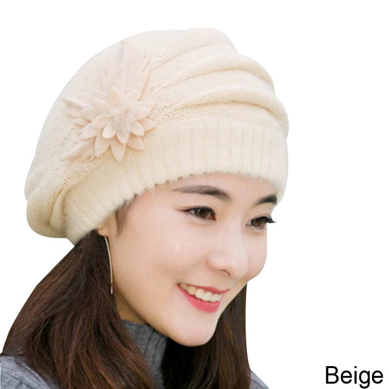 7bcc909d9ed Women Winter Hat Warm Rabbit Fur Thicken Beret Hat Ladies Elegant ...
