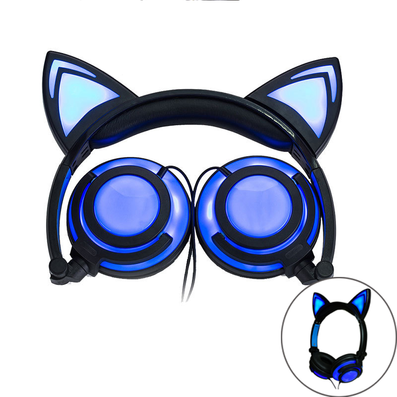 NDJU Cat Ear Gaming Headphone with LED Flashing Glowing Wried Headset HIFI Stereo Earphone Casque with Mic for girl and children cartoon cat ear headphone flashing glowing cosplay cat ear headphones foldable gaming headsets earphone with mic for girl gift page 2