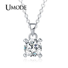 UMODE 2018 New White Gold Round Zircon Crystal Pendant Necklaces for Women CZ Necklace Link Chain Jewelry AUN0309