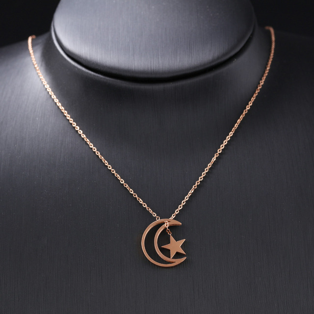 Vintage Moon & StarWomen 's Choker Necklaces Rose Gold Color Length Resizable Mother 's Day Birthday Party Gift GX1173